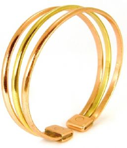 N: Copper & Brass Triple Bracelet